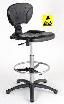 Krzesło ESD, seria II, poliuretanowe z elementami chromowanymi.