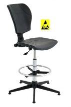 Krzesło ESD, seria III, poliuretanowe z elementami chromowanymi, wysokie.