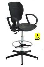 Krzesło ESD, seria III, poliuretanowe z podłokietnikami i elementami chromowanymi. Wysokie