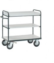 Wózek ESD duży, 2 półki wyposażone w ścianki boczne, 3 - kondygnacyjny, 9101.K2, platforma - 600x1000mm, 250kg.